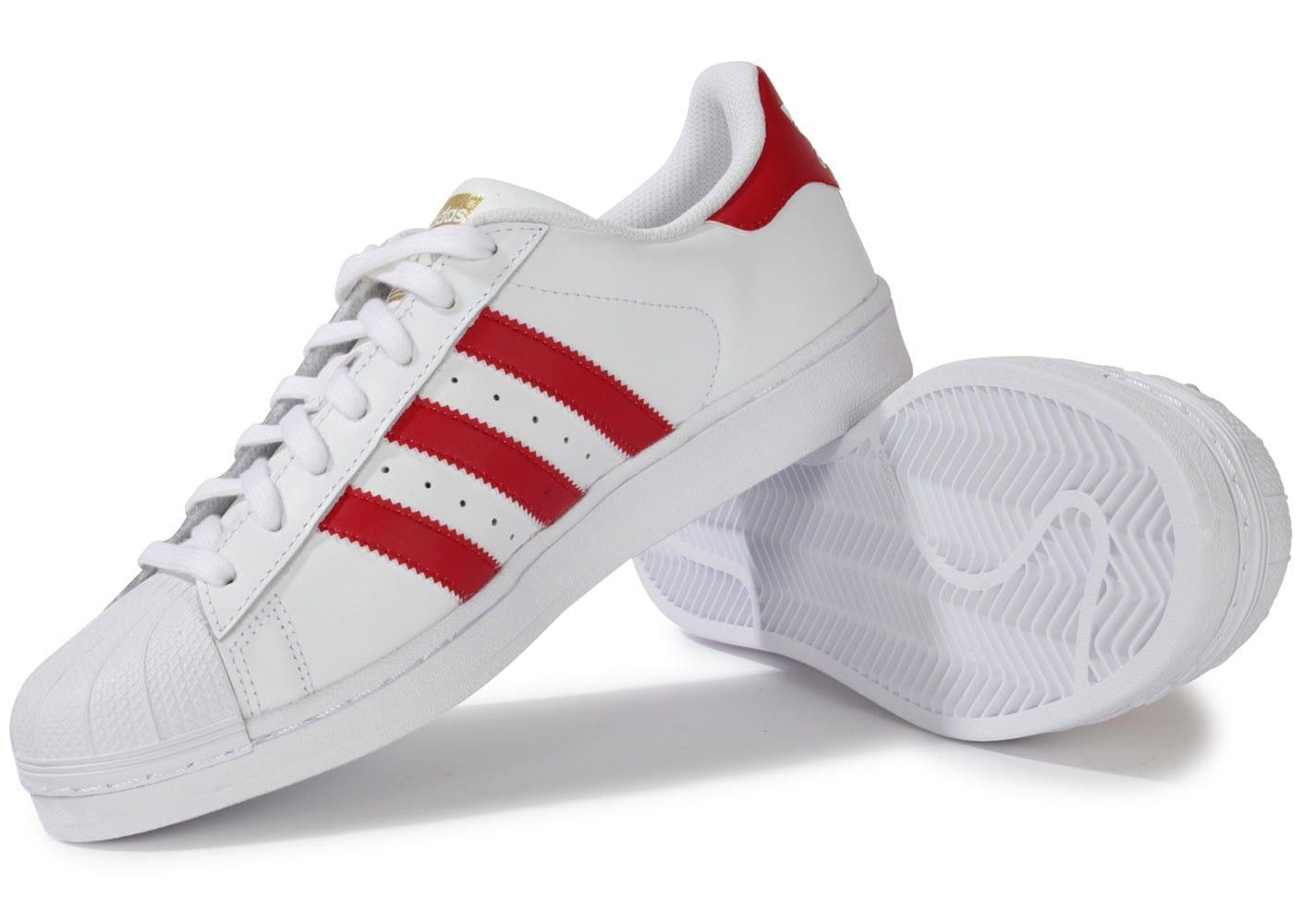 Vente de adidas superstar blanche et rouge homme Soldes